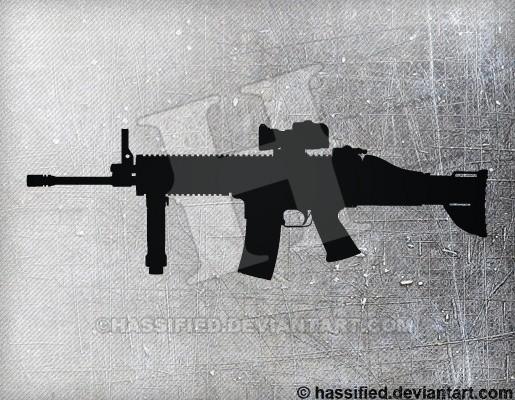 FN SCAR - printable, vector, svg, art
