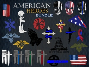 American Hero Bundle - SVG, EPS Cut Files for Cricut and Silhouette Cameo