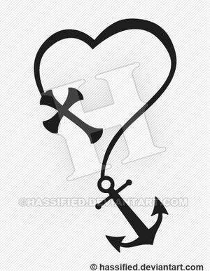 Cross with Anchor - Printable vector, eps, svg, jpeg