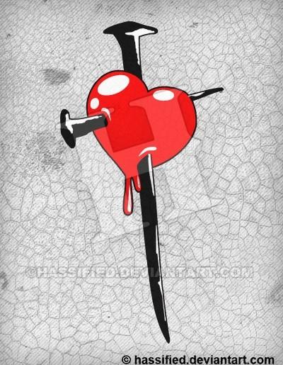 Heart and Nails Cross - printable, vector, svg, art