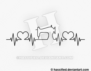 Sewist Heartbeat - printable, vector, svg, art