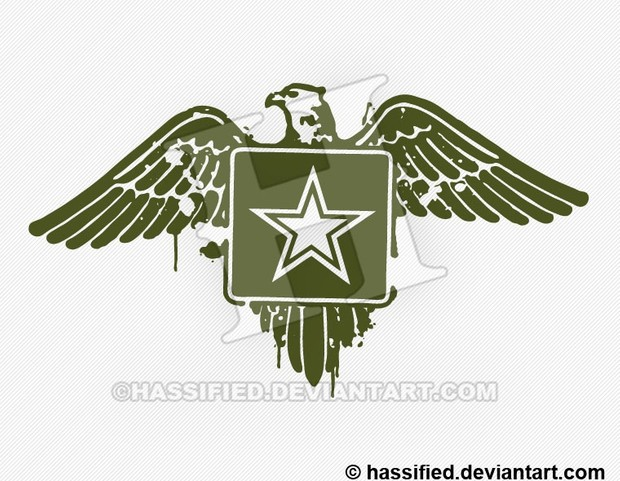 Stenciled Army Eagle- printable, vector, svg, art