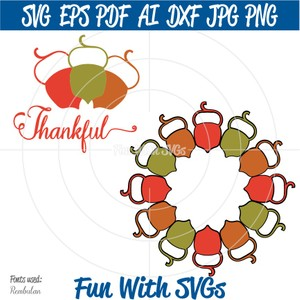 Acorn Monogram, PNG, EPS, DXF and SVG Cut File, High Resolution Printable Graphics