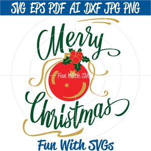 Merry Christmas SVG File, Christmas Ornament, Svg Files, Glass Block SVG, Cricut, Silhouette