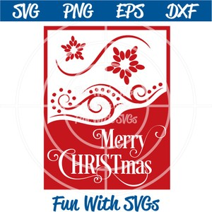 Merry Christmas Card Front, PNG, EPS, DXF and SVG Cut File, High Resolution Printable Graphics