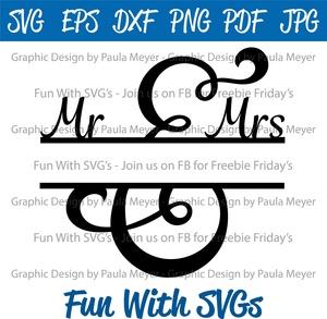 Mr. and Mrs. Split Monogram 1 - SVG, High Resolution Printable Graphics and Editable Vector Art