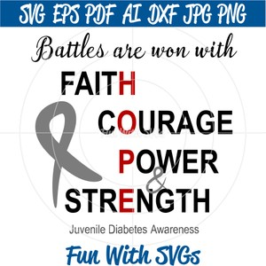 Juvenile Diabetes Awareness, HOPE, Battles are Won PNG, EPS, DXF, SVG