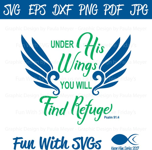 Under His Wings -  SVG Cut File, High Resolution Printable Graphics and Editable Vector Art
