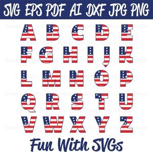 Patriotic Flag Alpha Set - SVG Cut File, High Resolution Printable Graphics and Editable Vector Art