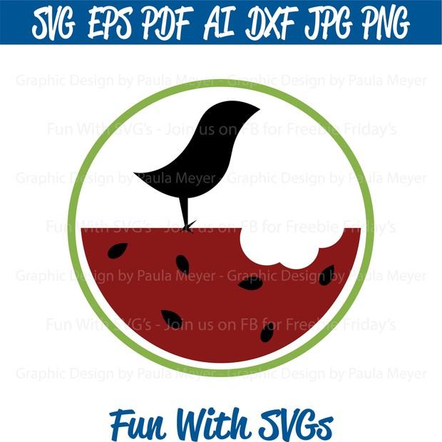 Watermelon Bird -  SVG Cut File, High Resolution Printable Graphics and Editable Vector Art