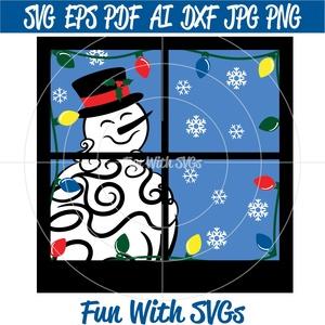 Glass Block Snowman SVG, Winter SVG Files