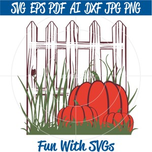 Picket Fence and Pumpkins SVG, Fall SVG, Harvest Decor, Printable by Fun With SVGs