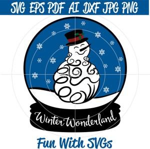Snow Globe Snowman, SVG Files, Winter SVGs, Winter Wonderland