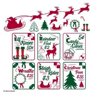 Christmas Sign SVG Files, Christmas Signs, Santa's Sleigh SVG, Elf Feet SVG, Holly, Christmas Wreath
