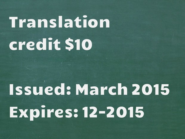 Tagalog-English Translation Credit $10