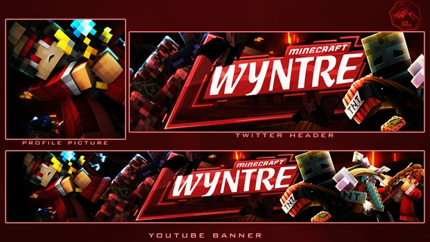 1 Minecraft YouTube BUNDLE [ 1 Banner-1 Profile Picture-1 Twitter Header-2 Extruded 4k RENDERS]