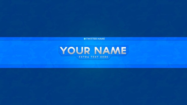 blue youtube banner template psd file