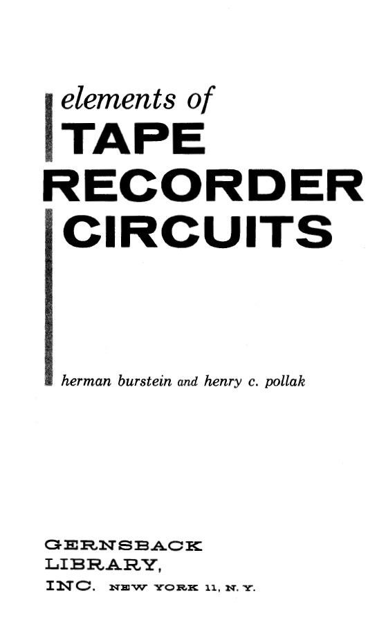 Elements of Tape Recorder Circuits - Vintage Info