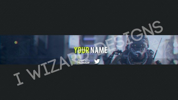 premade youtube banner cod aw 3d effect template psd