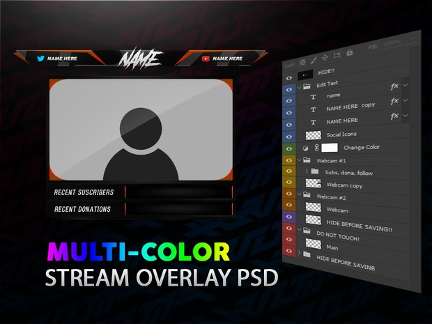 FREE Multi-Color Stream/Video Overlay Template Pack #2
