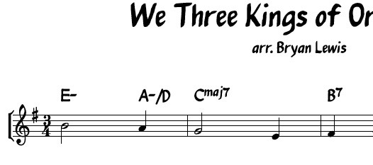 We Three Kings of Orient Are - lead sheet