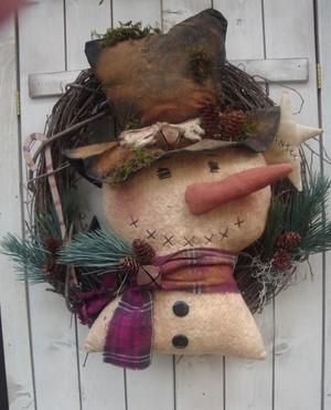 #408 snowman wreath e pattern