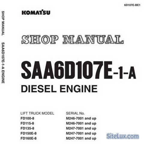 Komatsu SAA6D107E-1-A Diesel Engine Service Repair Shop Manual - 6D107E-BE1