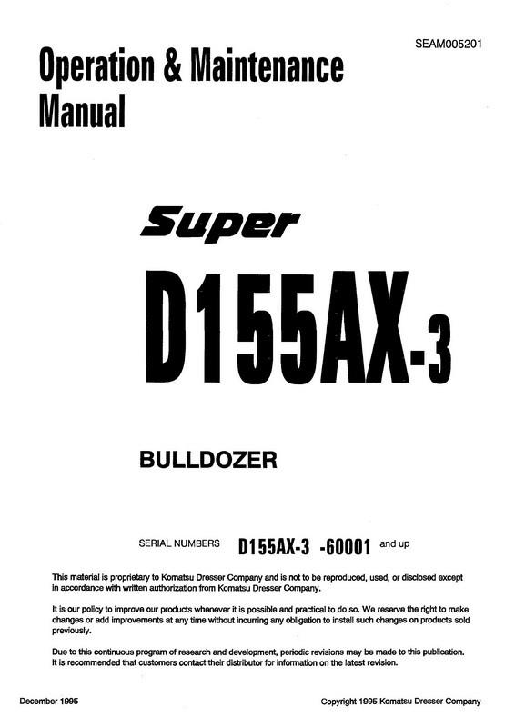 Komatsu D155ax 3 Bulldozer Operation Maintenance Man Index Of Manual