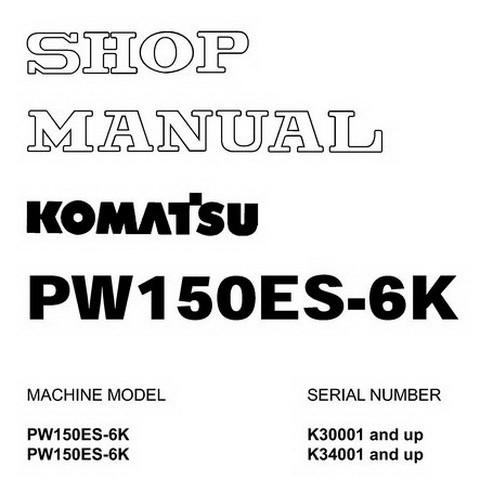 Komatsu PW150ES-6K Hydraulic Excavator Service Repair Shop Manual - UEBM000401
