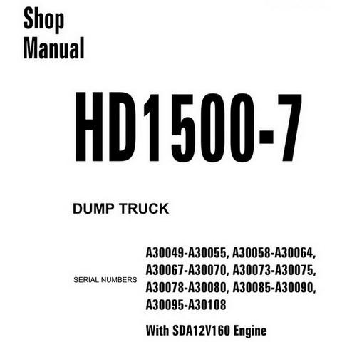 Komatsu HD1500-7 Dump Truck Service Repair Shop Manual