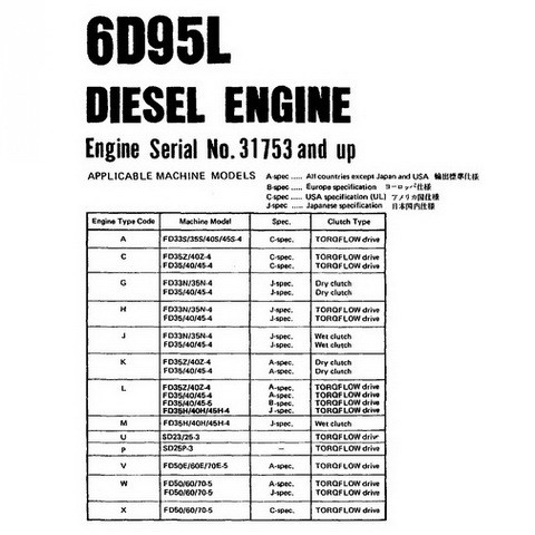 Komatsu 6D95L Diesel Engine Parts Manual Book