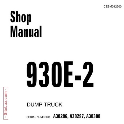 Komatsu 930E-2 Dump Truck Service Repair Shop Manual - CEBM012200