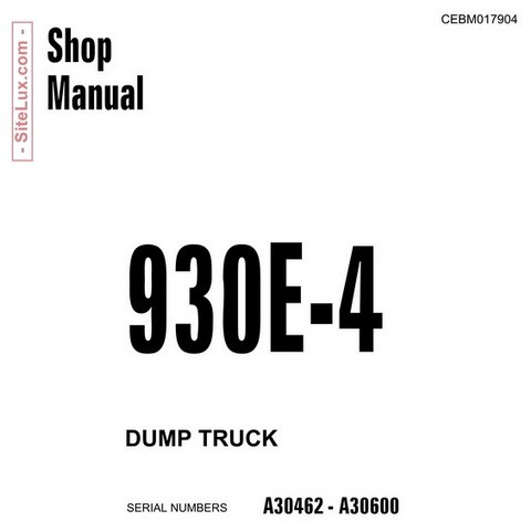 Komatsu 930E-4 Dump Truck Service Repair Shop Manual (A30462-A30600) - CEBM017904