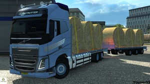 Euro Truck Simulator 2 Volvo FH16 Flatbed with Trailer