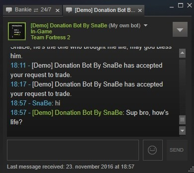 Steam Donation/Idle bot/Storage - Trade offers, Chat messages, Friend requests & more!