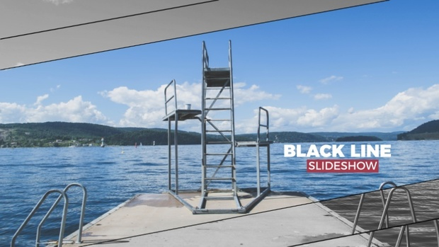 Template Black Line Slideshow  sony vegas 12 13 14