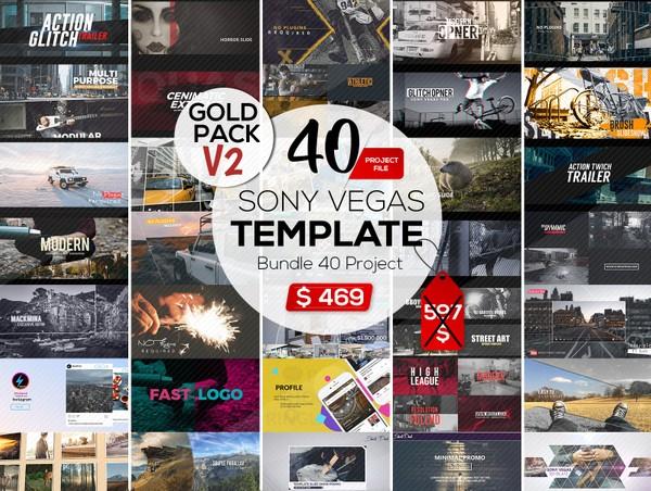 Gold Pack V2  | Bundle Template Sony Vegas Volume 2