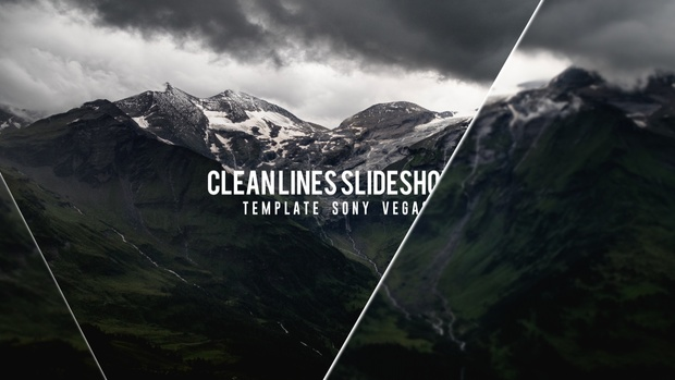 Template Clean Lines Slideshow sony vegas 12 13