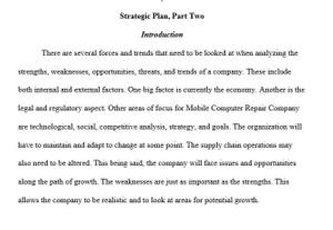 BUS 475 Strategic Plan Part II SWOTT Analysis Week 3