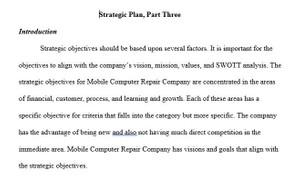 BUS 475 Week 4 Strategic Plan Part III Balanced Scorecard