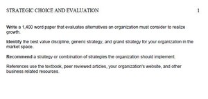 Strategic Choice and Evaluation Paper STR 581 Week 4 Individual Assignment