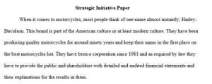 Strategic Initiative Paper  – FIN 370 Week 3