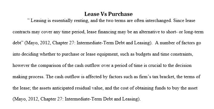 lease versus purchase paper essay Get custom essay sample written according to your requirements  we will write  a custom essay sample on debt versus equity financing paper  debt and  equity lease versus purchase option comparing and contrasting lease  versus.