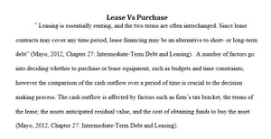 Lease versus Purchase Paper – FIN 370 Week 4