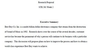 Research Proposal Paper STR 581 Week 2 Individual Assignment