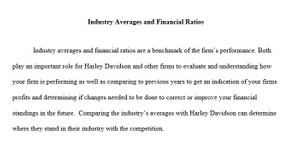 Industry Averages and Financial Ratios Paper - FIN 370 Week 2