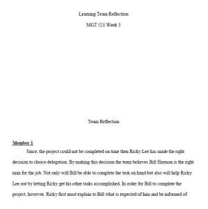Week Three Learning Team Reflection MGT 521