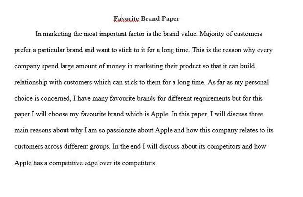 MKT 421 Favorite Brand Paper | MKT 421 Week 1 Individual Assignment