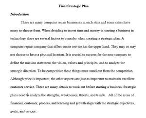 BUS 475 Week 5 Final Strategic Plan Individual Assignment