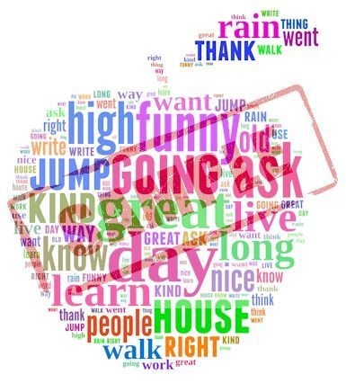 First Grade Sight Words (Apple Shaped Word Cloud Image)